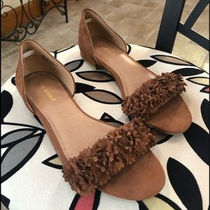 Lane Bryant Open Toe Brown Flower Flat Sandals 10W